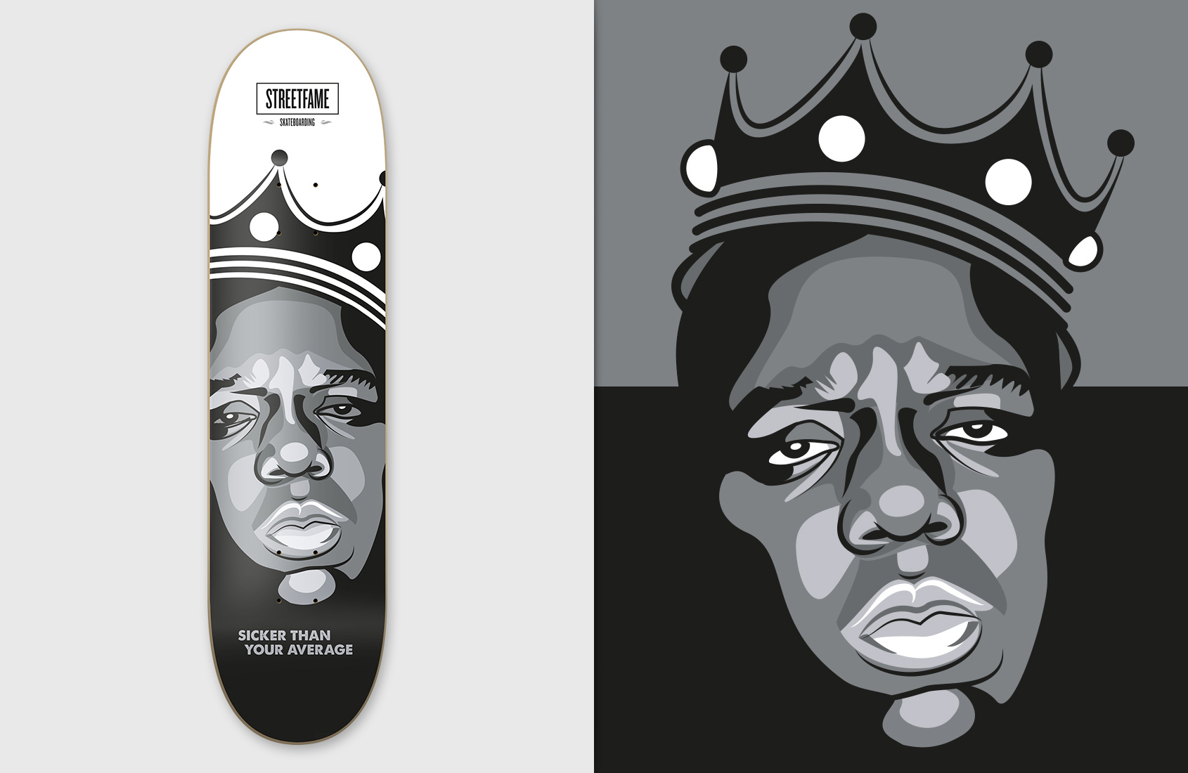 Streetfame Skateboards - Biggie black/white